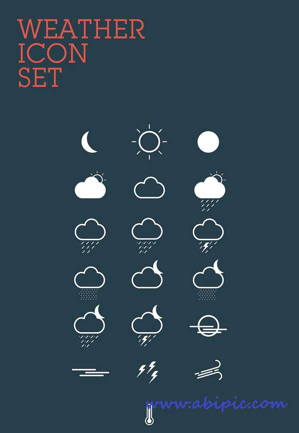 دانلود وکتور آیکون آب و هوا  Weather Icons