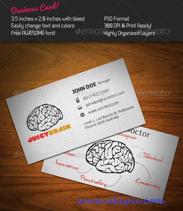 دانلود طرح لایه باز کارت ویزیت پزشکی با طرح مغز Brain PSD Business Card