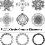 دانلود وکتور طرح های تزئینی دایره ای Vectors Circle Ornament Elements