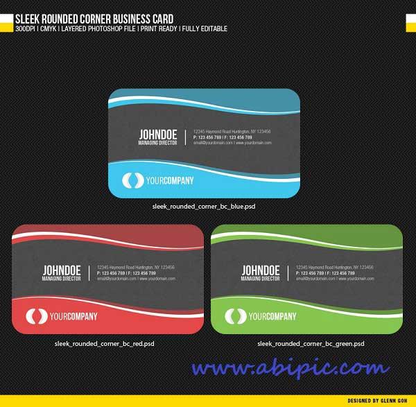 دانلود طرح لایه باز کارت ویزیت با کناره های گرد Sleek Rounded Corner Business Card