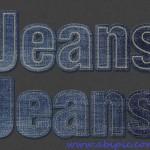 افکت متن فتوشاپ طرح دوخت جین شماره 2 Stitched Denim PS Action