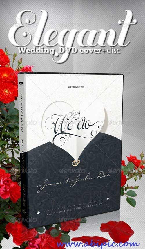 دانلود طرح لایه باز کاور و لیبل دی وی دی شماره 12 Elegant Wedding DVD Covers and Disc Label