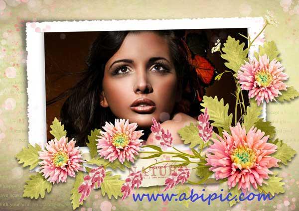 دانلود طرح لایه باز قاب عکس رمانتیک سری 3 Photo frame - Floral romantic
