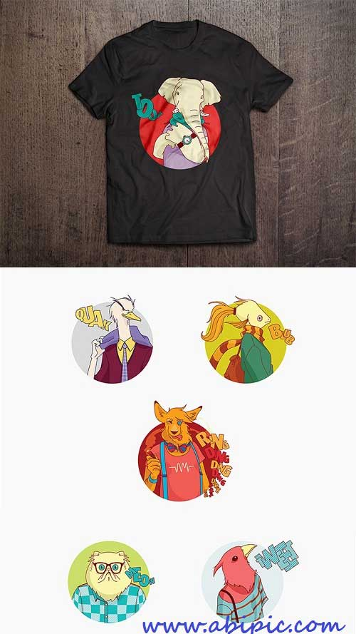 وکتور طرح های هنری زیبا روی تی شرت Vector - Art T-Shirt design