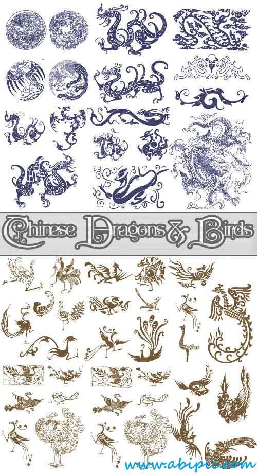 دانلود وکتور اژدها و پرندگان چینی Chinese Dragons and Birds