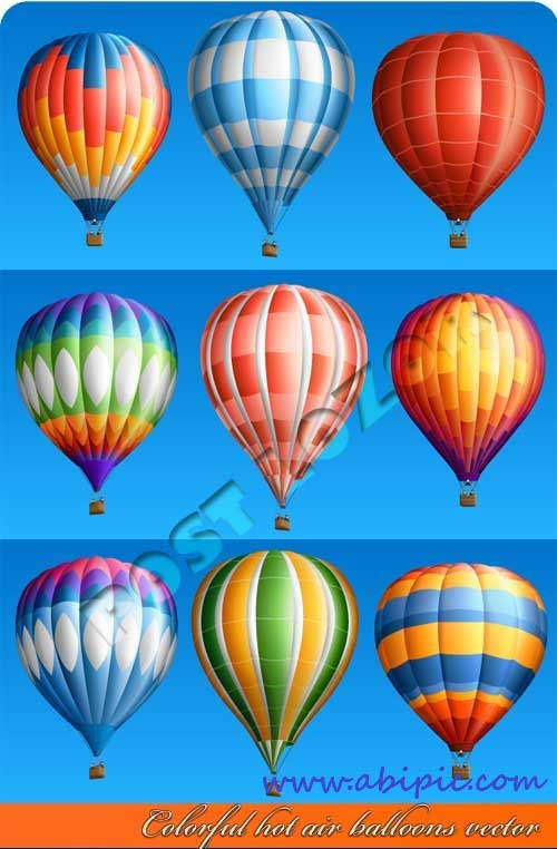 دانلود وکتور بالن های رنگارنگ Colorful hot air balloons vector