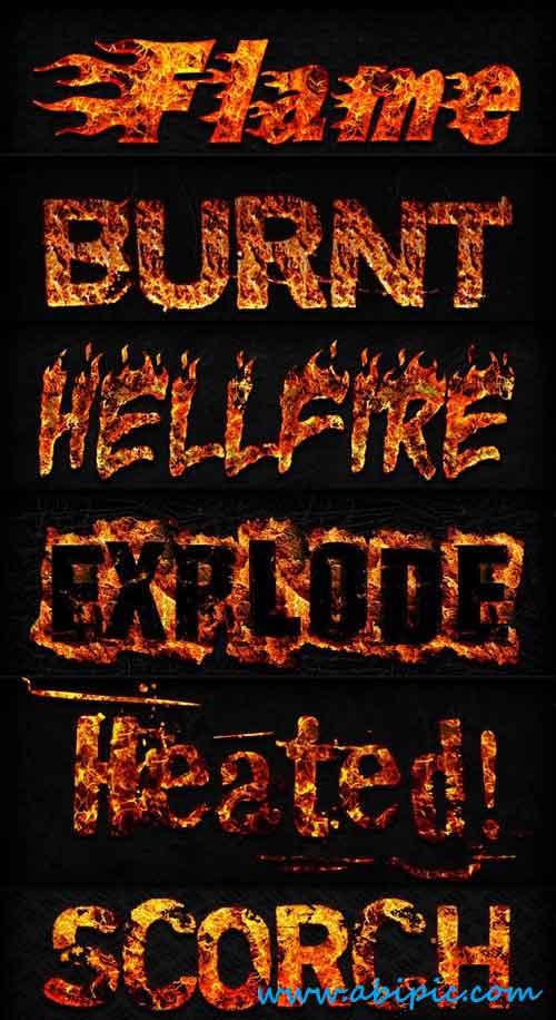 دانلود استایل یا افکت آتش متن Fire Layer Photoshop Styles