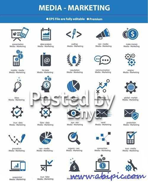 دانلود وکتور آیکون مفهومی بازاریابی و رسانه Stock Vector Media & Marketing concept icons