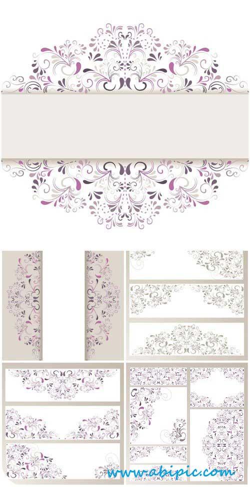 دانلود وکتور طرح های تزئینی کادر و حاشیه Vector backgrounds with beautiful floral