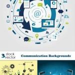 دانلود 3 وکتور بک گراند با موضوع ارتباطات و تکنولوژی Vectors Communication Backgrounds