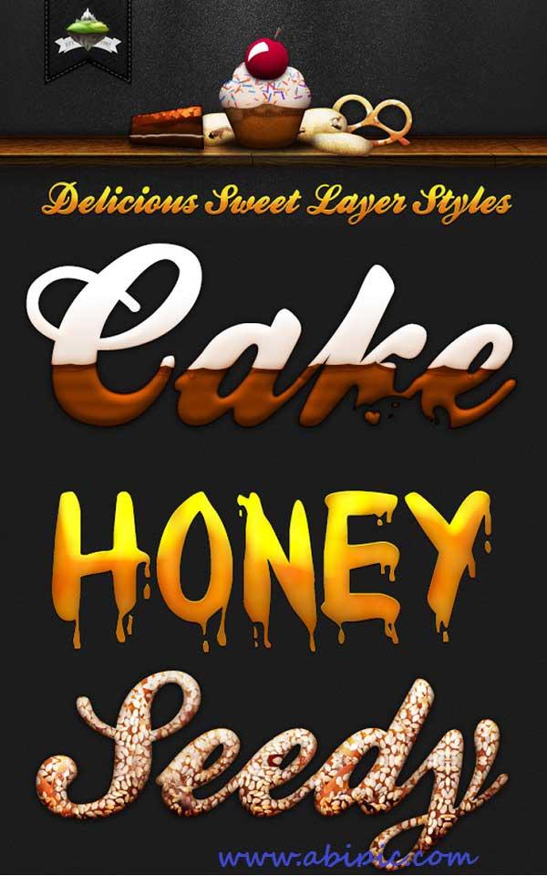 دانلود افکت متن فتوشاپ خوراکی delicious Sweet layer style