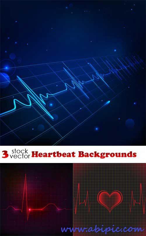 دانلود وکتور پس زمینه با طرح نوار قلب Vectors Heartbeat Backgrounds