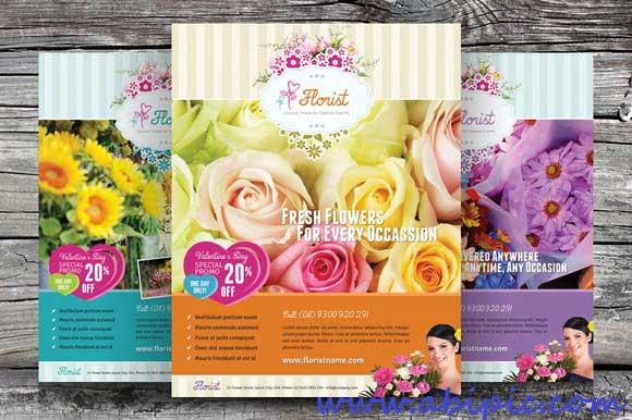 دانلود طرح لایه باز پوستر گل فروشی  Flower Shop Flyer PSD