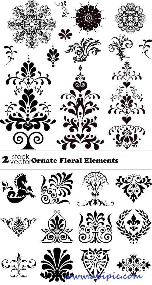 دانلود وکتور المان های گل و بوته تزئینی سری 15 Vectors Ornate Floral Elements