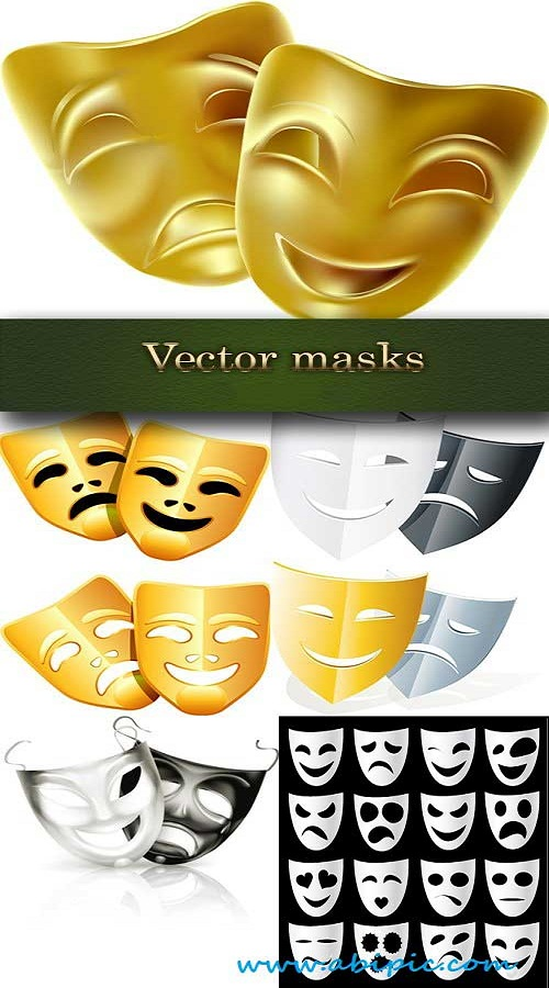 دانلود وکتور ماسک تئاتر Theatrical masks Vector