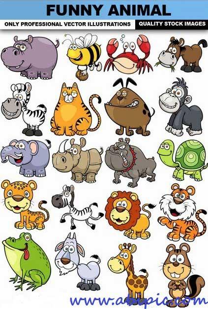 دانلود وکتور طرح های زیبا و بامزه از حیوانات Funny Animal Vector