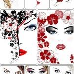 دانلود وکتور پس زمینه با طرح چهره خانم ها beauty women's face Vectors