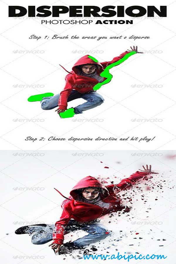 دانلود اکشن بسیار زیبای تکه تکه کردن عکس Dispersion Photoshop Action