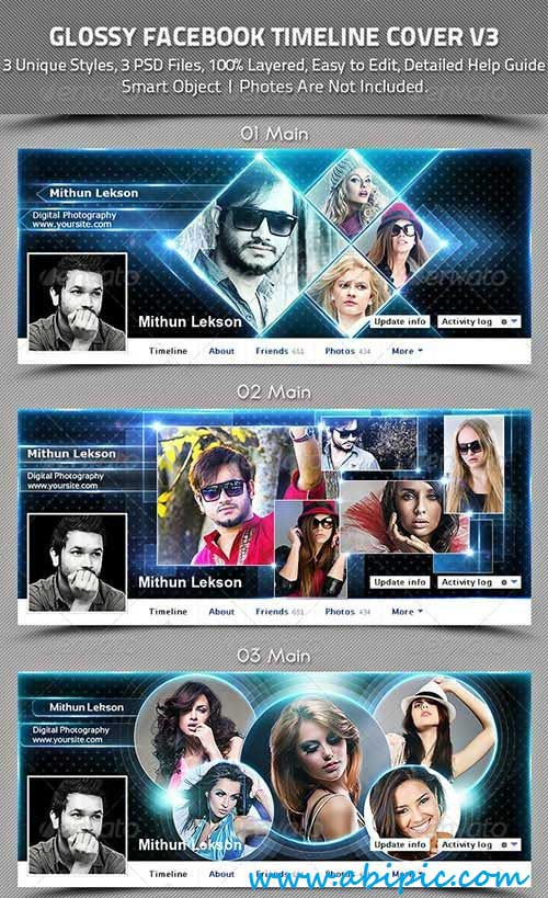 دانلود سری 17 کاور تایم لاین فیس بوک Glossy Facebook Timeline Cover