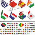 دانلود وکتور ایزومتری پرچم کشورهای دنیا Isometric world flags
