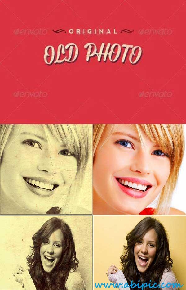 دانلود افکت لایه باز تبدیل عکس به عکس های قدیمی PSD Old Photo