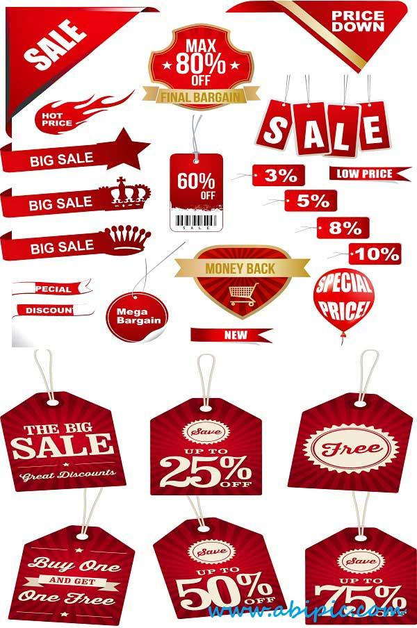 دانلود وکتور مجموعه لیبل های فروش قرمز Vectors Red Bright Sale Elements