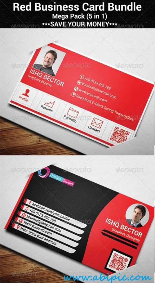 دانلود طرح لایه باز کارت ویزیت شماره 119 Red Business Card