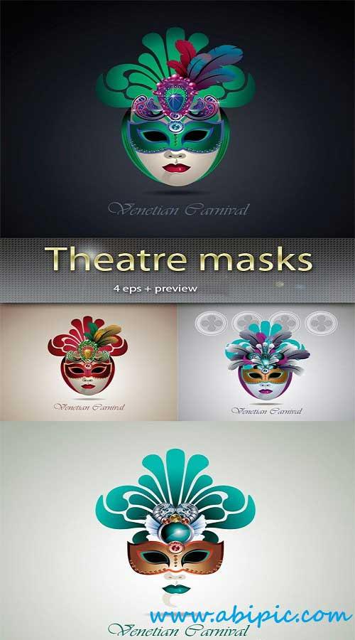 دانلود وکتور ماسک تئاتر شماره 2 Vector Theatre masks