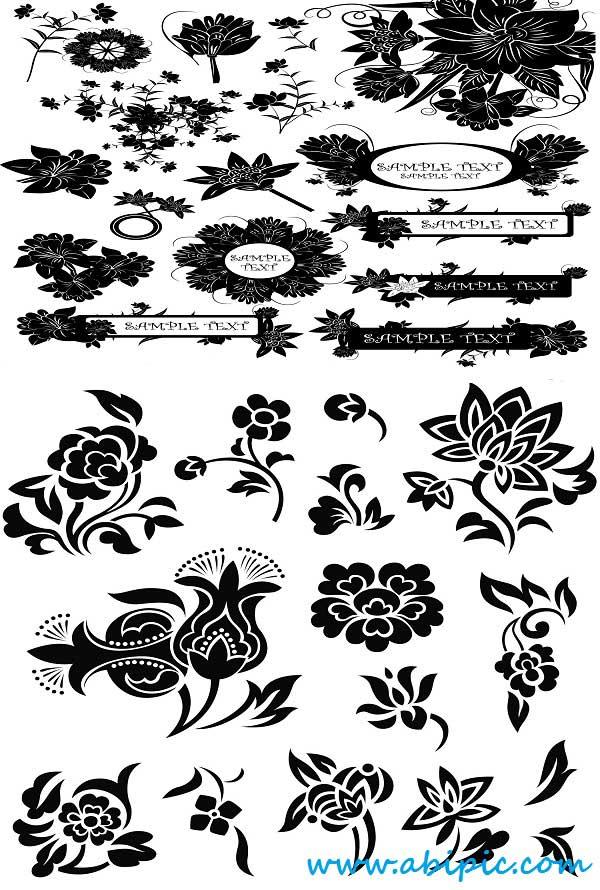 دانلود وکتور المان های گل و بوته تزئینی سری 16 Vectors Ornate Floral Elements