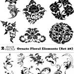 دانلود وکتور المان های تزئینی گل و بوته شماره 17 Vectors Ornate Floral Elements