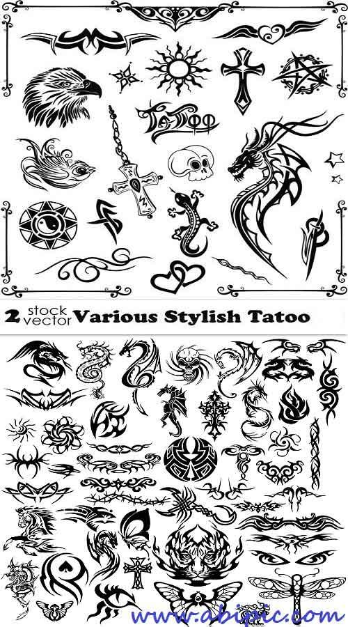 دانلود وکتور انواع طرح های تتو روی بدن Vectors Various Stylish Tatoo