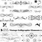 دانلود وکتور عناصر و نقش و نگارهای خطاطی Vectors Vintage Calligraphic Elements