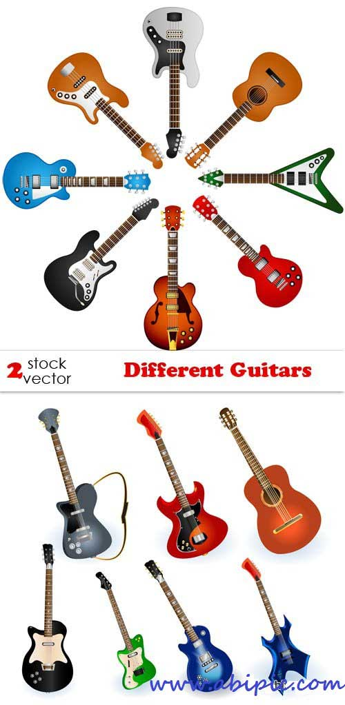 دانلود وکتور انواع مختلف گیتار Vectors - Different Guitars