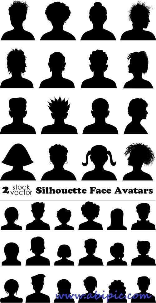 کادر نقاشی دانلود وکتور سیلوئت چهره برای آواتار Vectors Silhouette ...