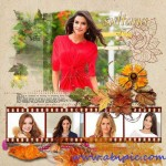 دانلود طرح لایه باز قاب و آلبوم عکس پاییزی شماره 5 Autumn PSD Photo Frame