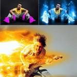 دانلود اکشن ایجاد افکت عناصر مختلف نور و آتش در عکس