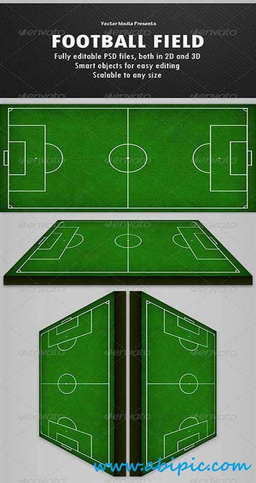 دانلود طرح لایه باز زمین فوتبال PSD Football Field