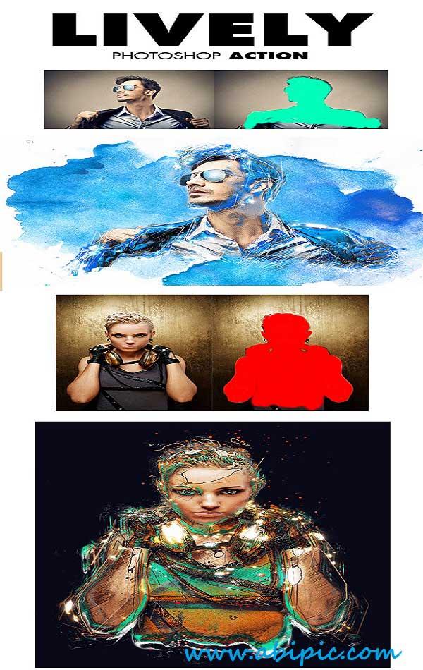 دانلود اکشن ایجاد افکت های انتزائی در عکس شماره 3 Lively Photoshop Action