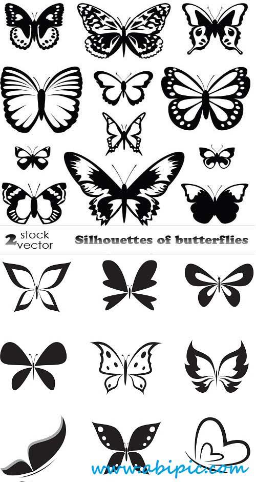 دانلود وکتور سیلوئیت پروانه Vectors Silhouettes of butterflies