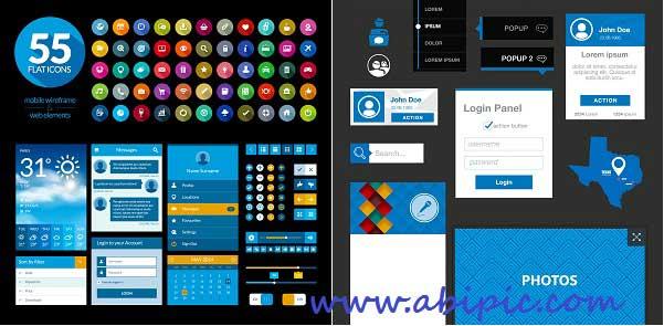 دانلود وکتور المان ها و عناصر طراحی و گرافیک سایت Vectors Web Flat Elements