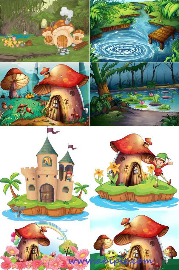 تصویر گل نقاشی کودک دانلود وکتور تصویر سازی های فانتزی Fantasy Vectors   آبی ...