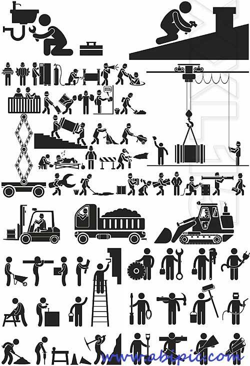 دانلود وکتور آیکون و پیکتوگرام ساخت و ساز و تعمیرات PICTOGRAMS CONSTRUCTION AND REPAIR