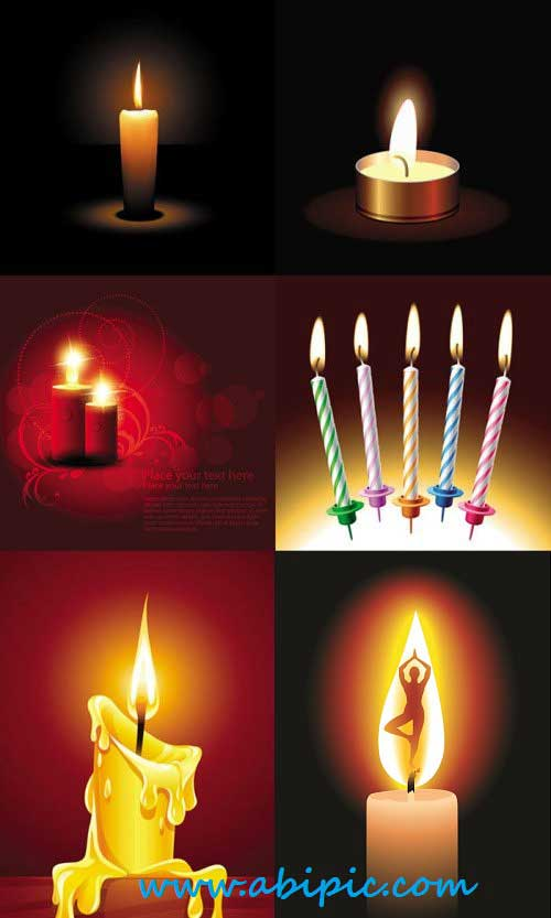 دانلود وکتور شمع Beautifully romantic candlelight vector