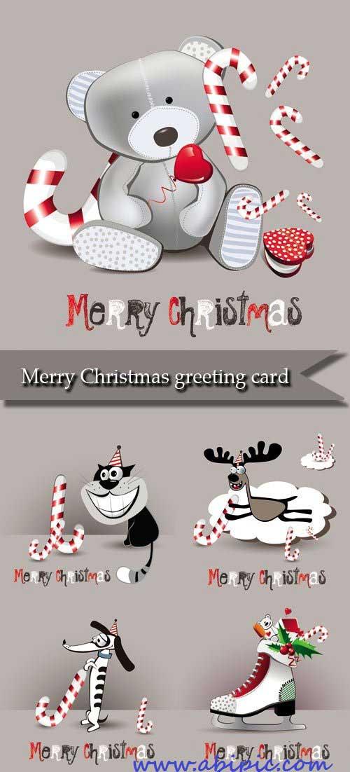 دانلود وکتور کارت تبریک سال نو میلادی Merry Christmas greeting card vector