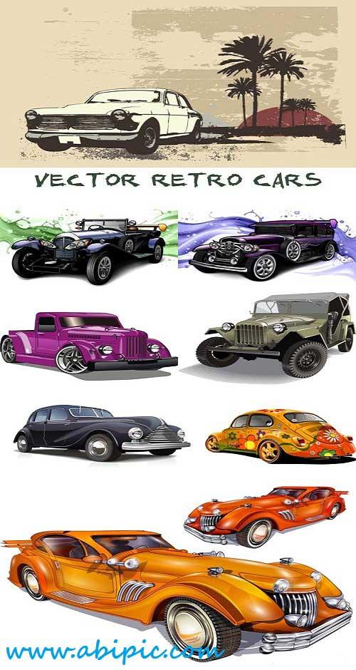 دانلود وکتور ماشین های قدیمی Vector retro cars