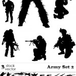 دانلود وکتور سیلوئیت (سیاه و سفید) نظامی Vectors – Army