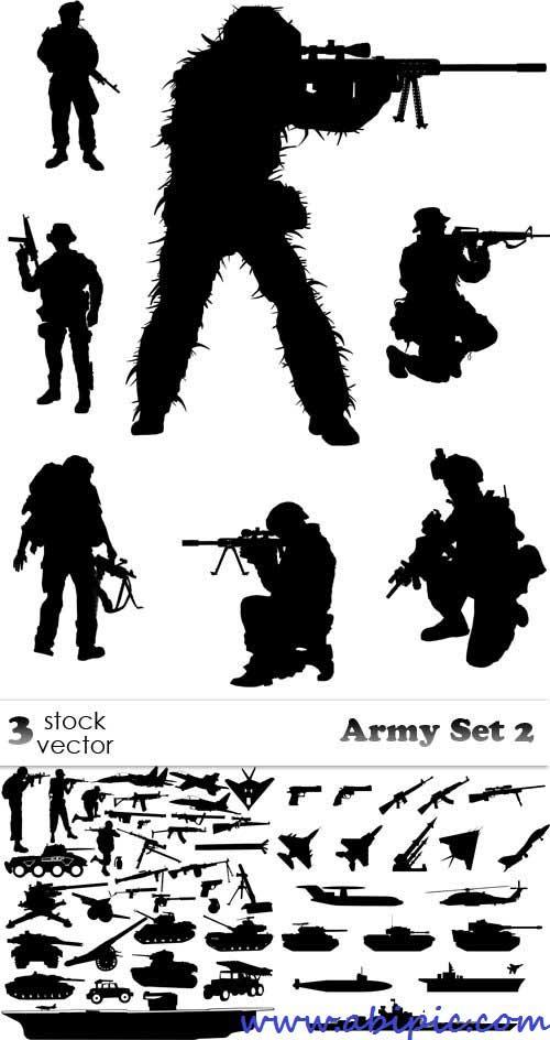 دانلود وکتور سیلوئیت (سیاه و سفید) نظامی Vectors - Army