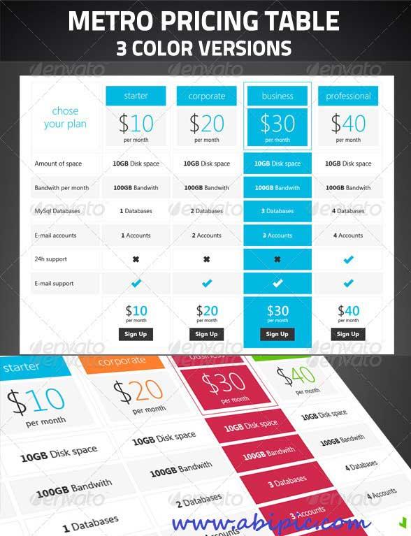 دانلود طرح لایه باز لیست و جدول قیمت و فروش 3 Price table PSD