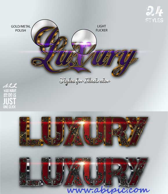 دانلود استایل و افکت های زیبا و لوکس ایلاستریتور Luxury Styles for Illustrator