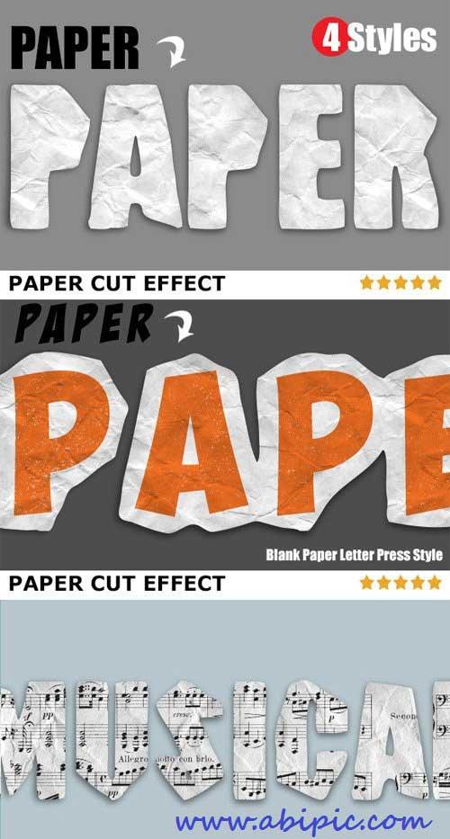 دانلود افکت فتوشاپ کاغذ برش خورده Paper Cut Effects Action